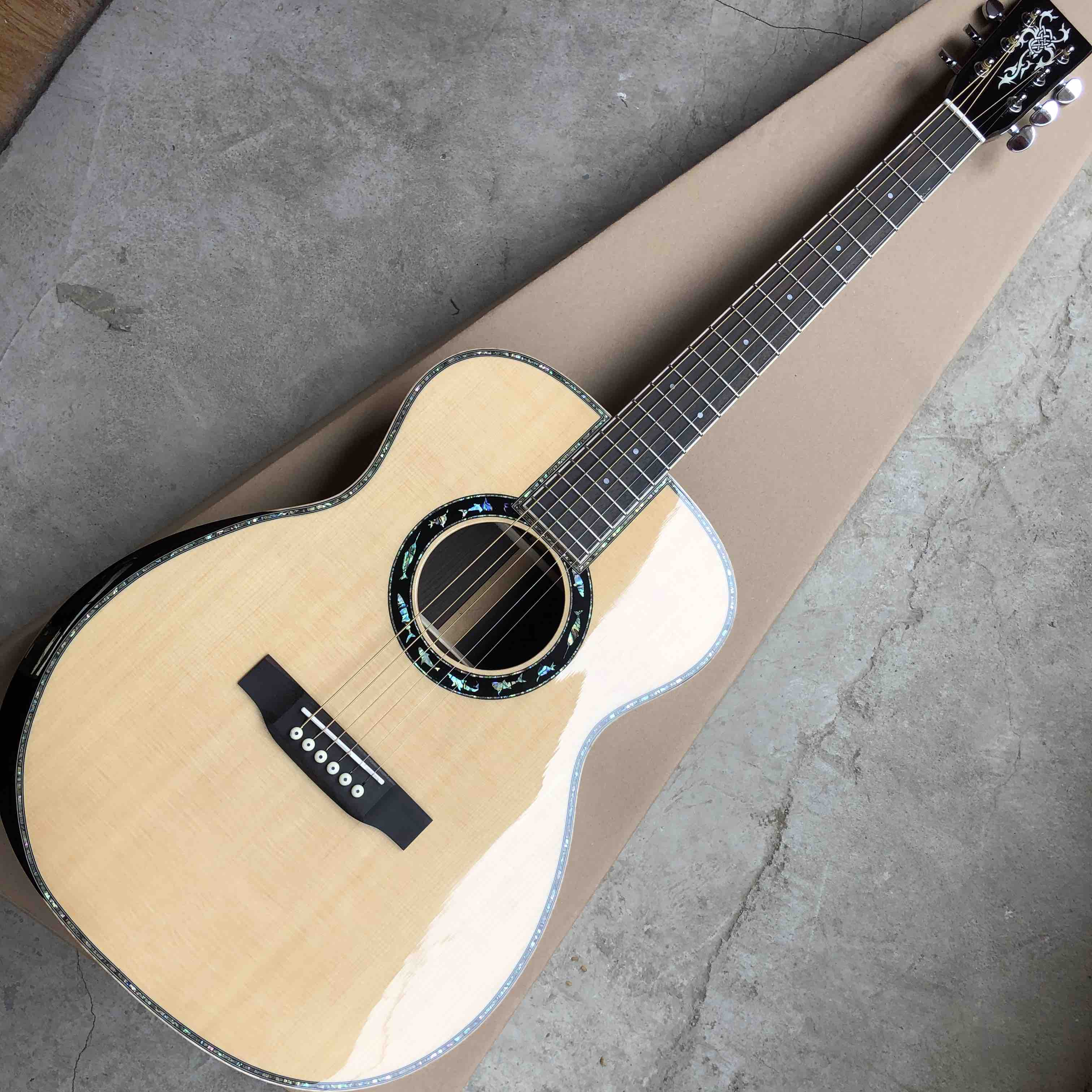 2020 New Real Abalone Aaaa All Solid Spruce Round Body Maple Binding Acoustic Guitar